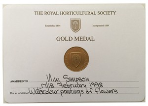 RHS Gold Medal certificate painting 1998 tiny for web